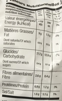 Nature Pomme de Terre - Informations nutritionnelles