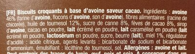 Biscuits croquants avoine & miel cacao - Ingredienti - fr