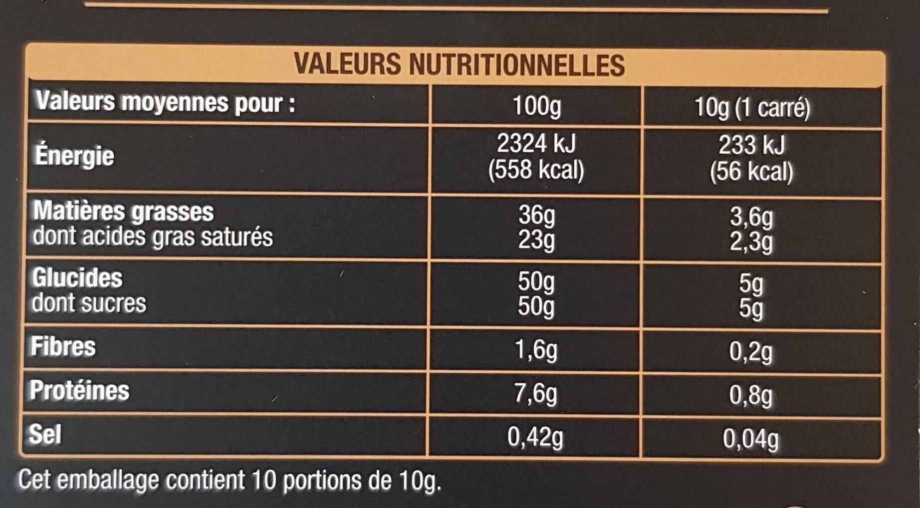 Chocolat au Lait Intense en Cacao - Nutrition facts