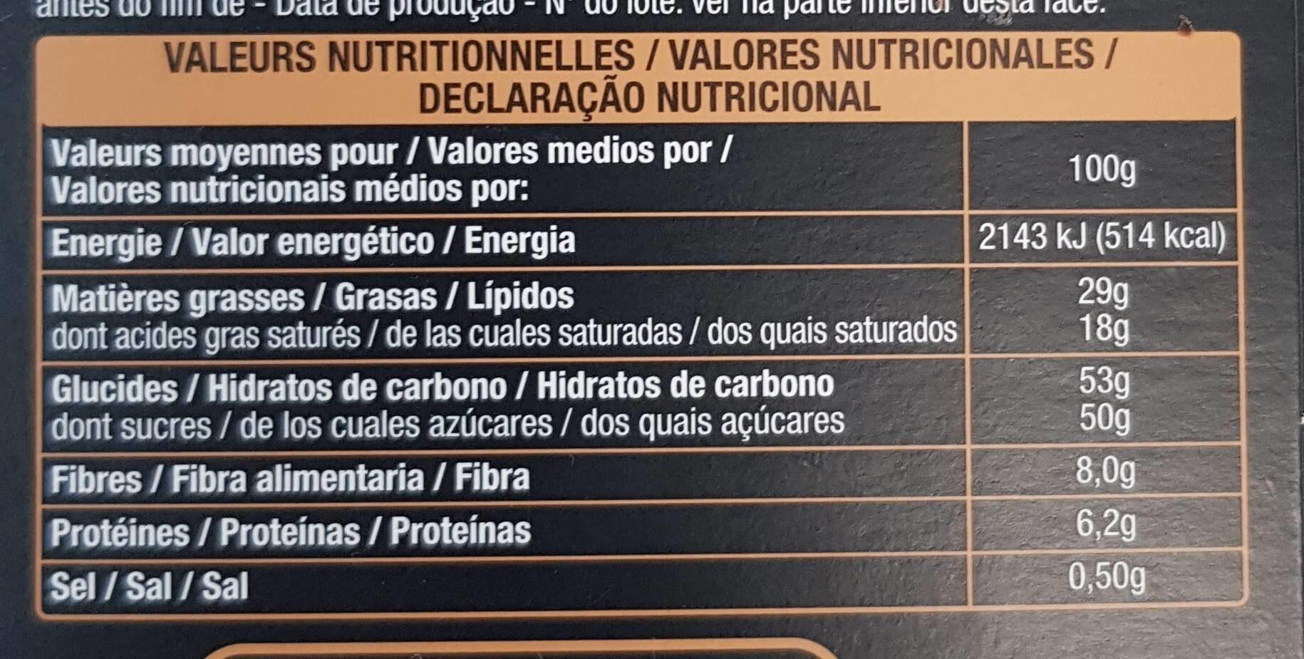 Chocolat Noir Fleur de Sel - Nutrition facts