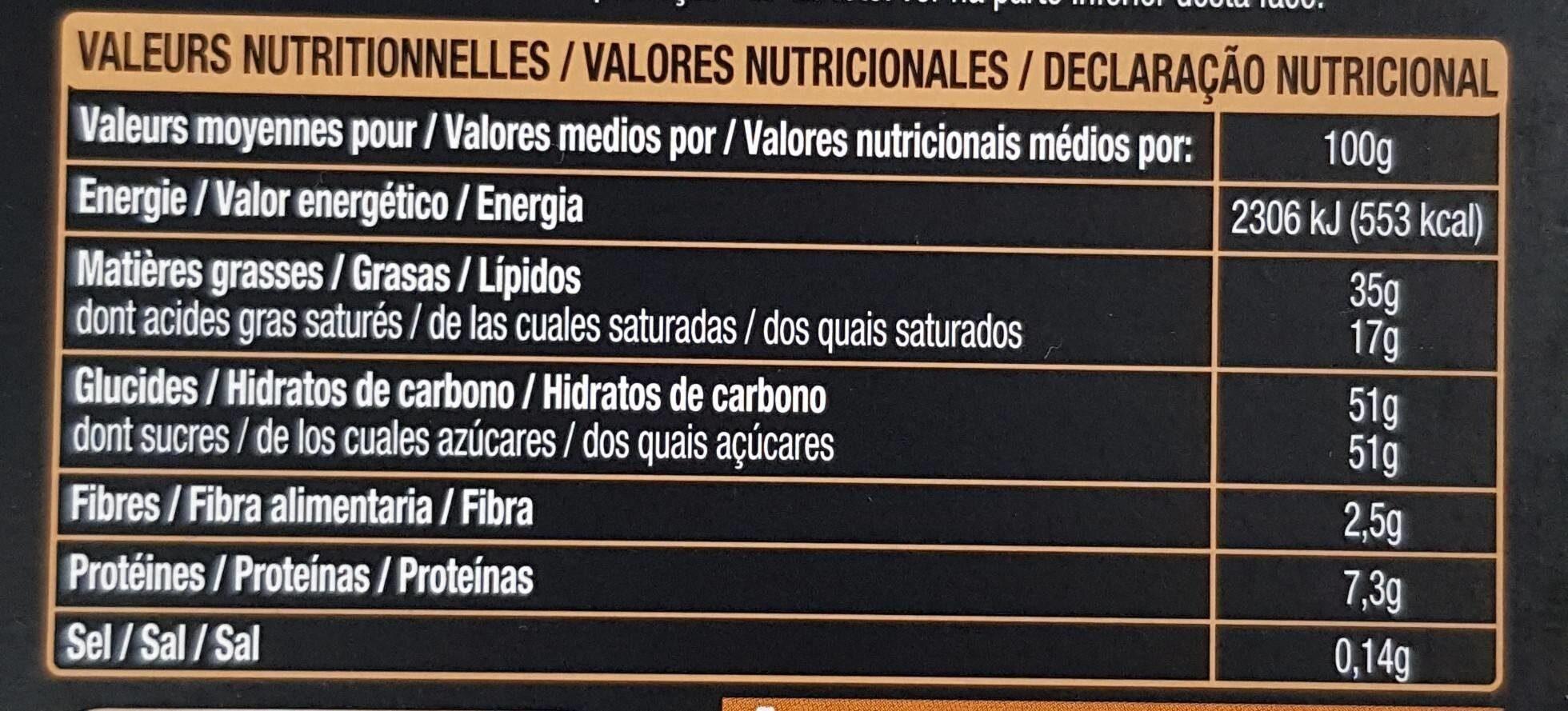 Chocolat au Lait Praliné & Éclats de Nougatine - Informations nutritionnelles - fr