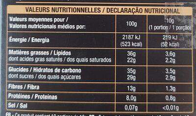 Chocolat Noir Écorces d'Oranges - Nutrition facts - fr