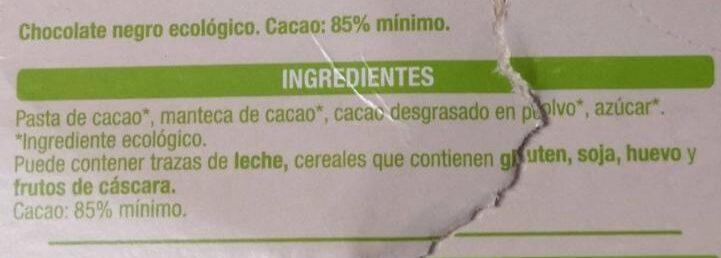 Chocolate BIO Auchan 85% - Ingrediënten - es
