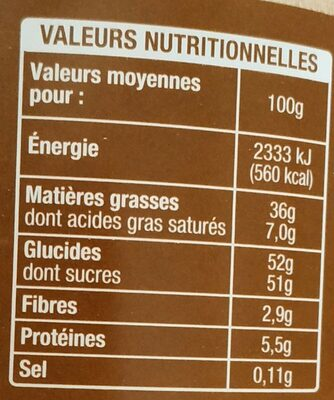 Pasta cao - Voedingswaarden - fr