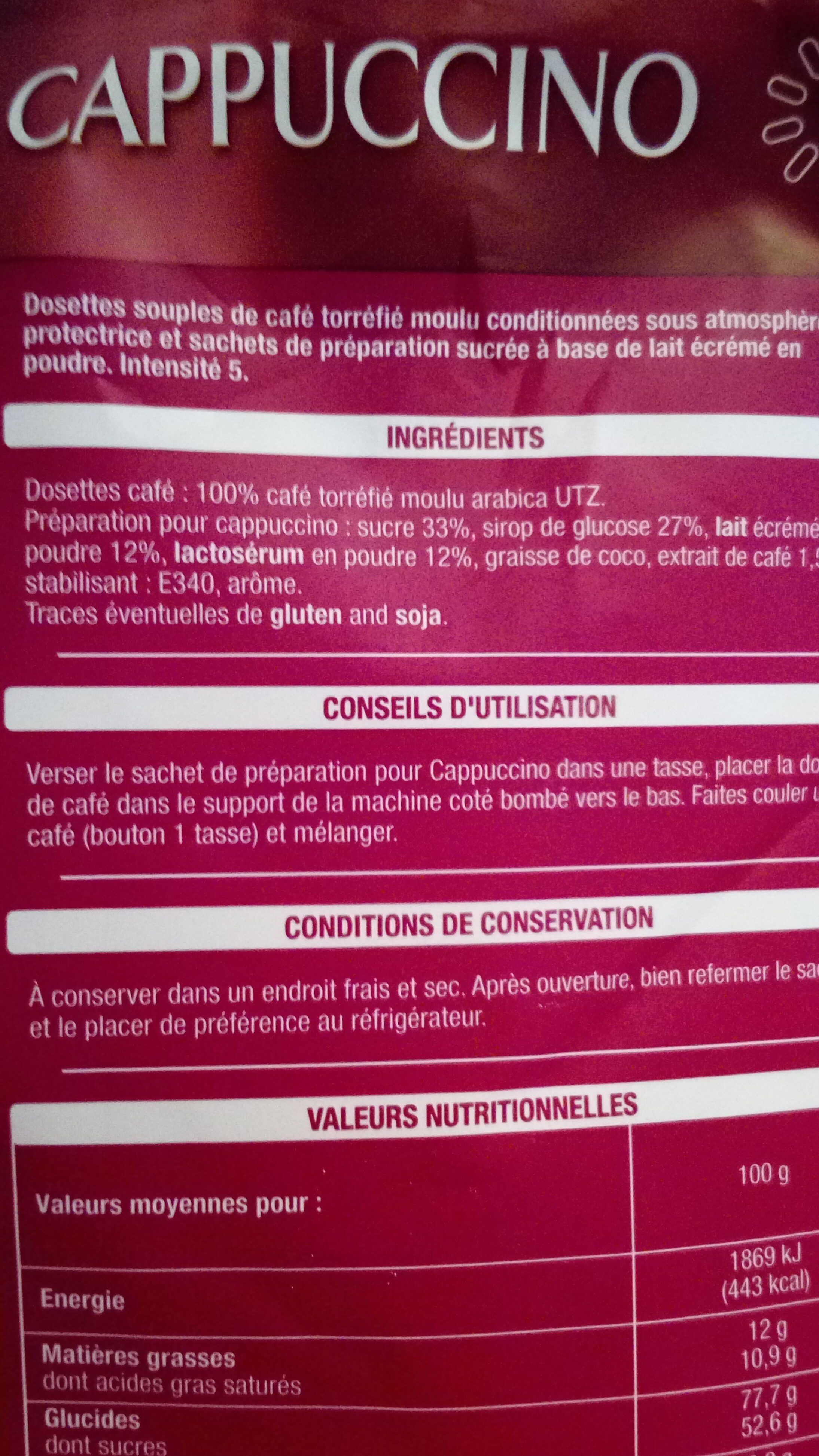 capuccino - Informations nutritionnelles - fr