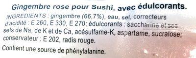 Gingembre mariné pour sushi - Ingrédients