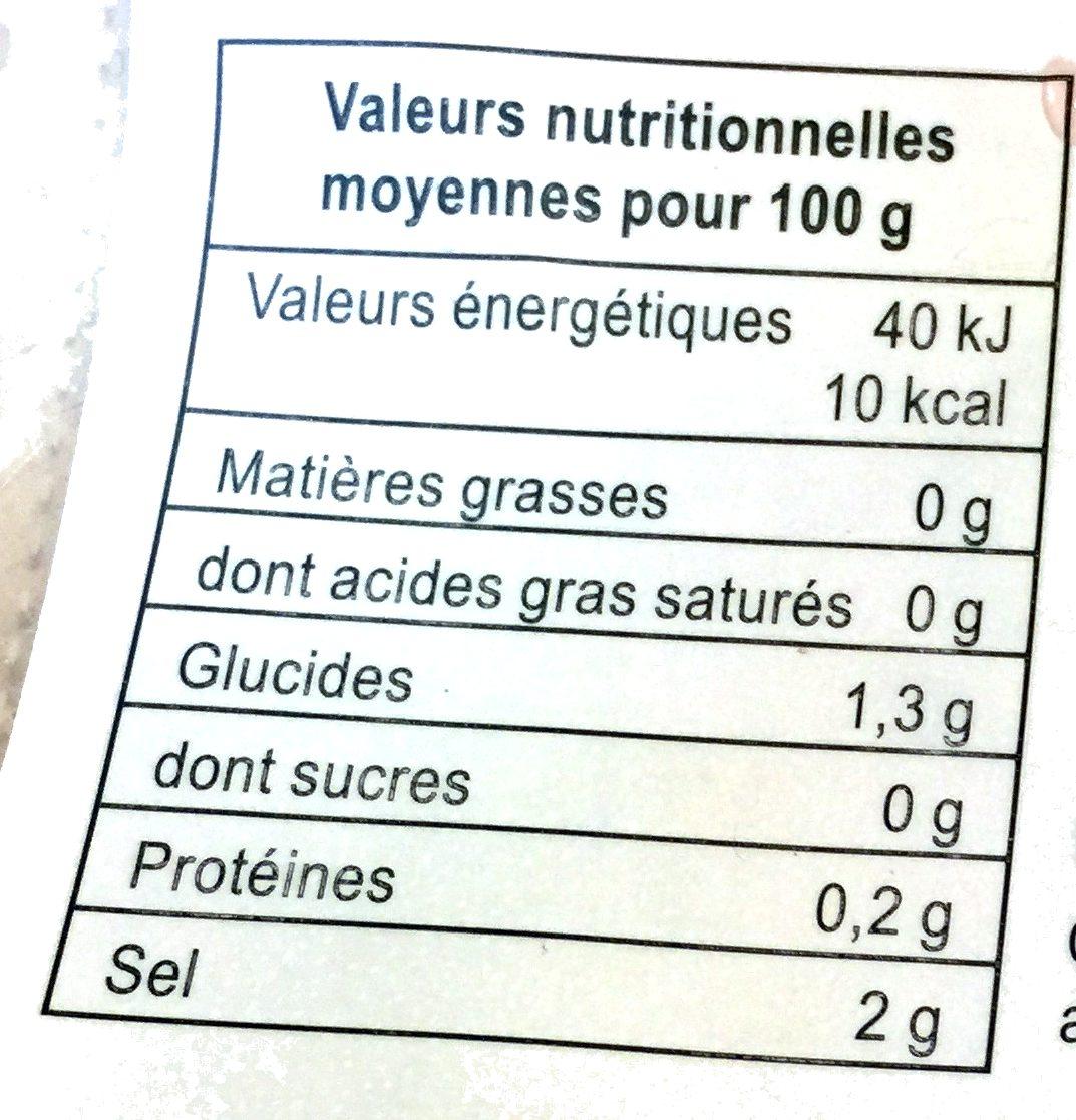 Gingembre mariné pour sushi - Informations nutritionnelles