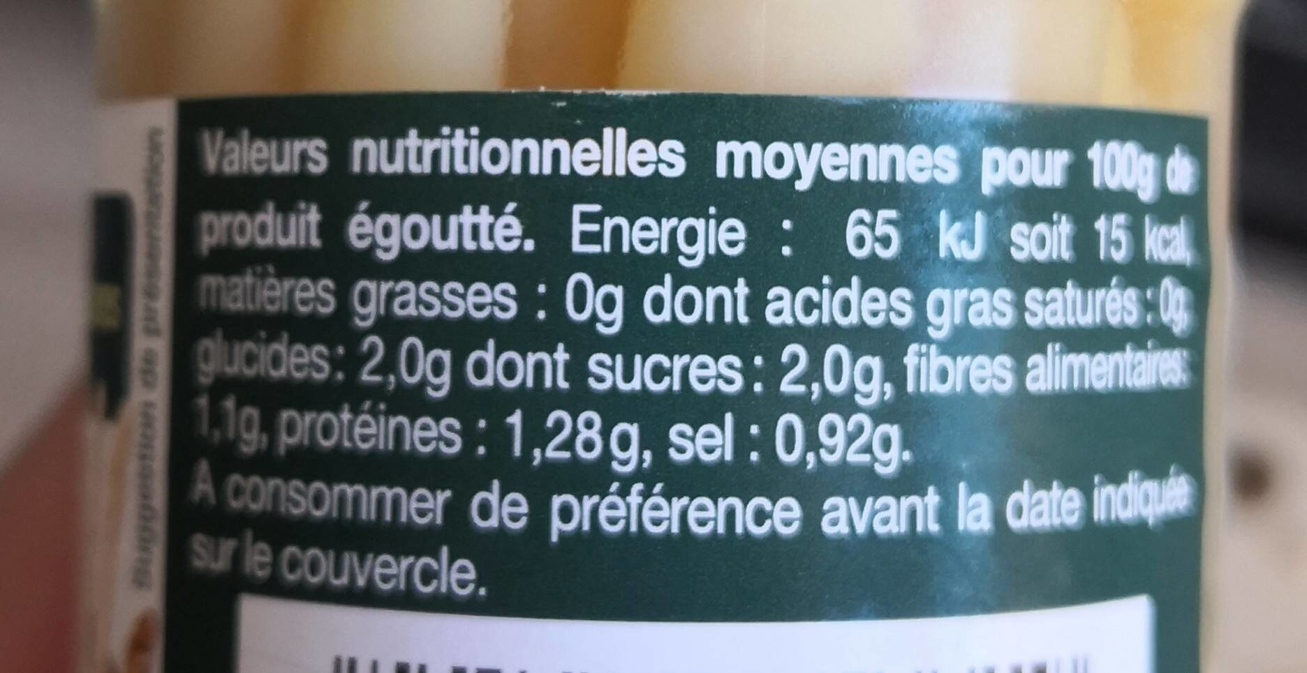 Asperges blanches miniatures - Nutrition facts - fr