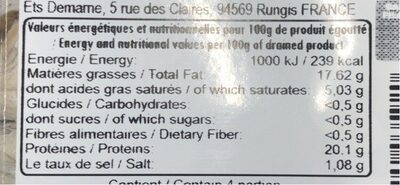 Filets anchois - Nutrition facts - fr