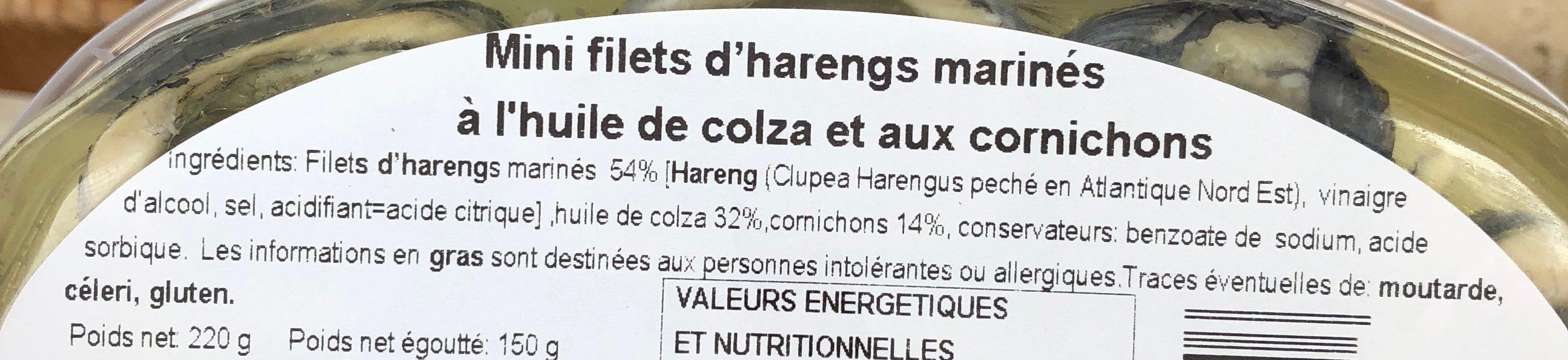 Mini filets d'harengs marinés aux cornichons - Ingredients - fr