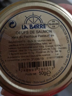 Œufs de saumon keta du pacifique - Ingredients - fr