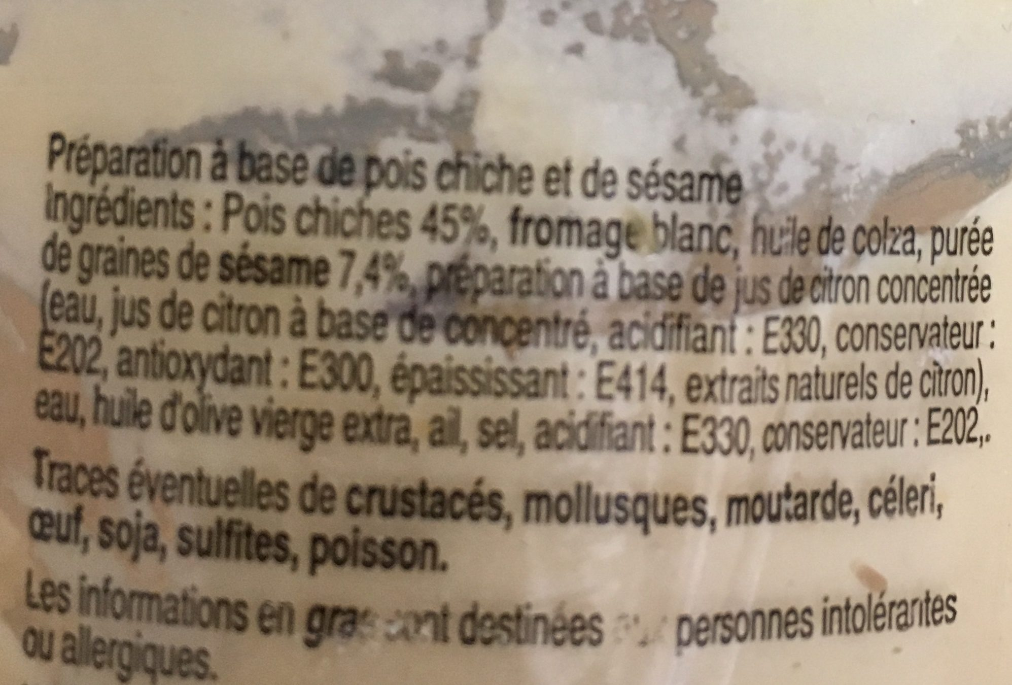 Houmous - Ingredients - en
