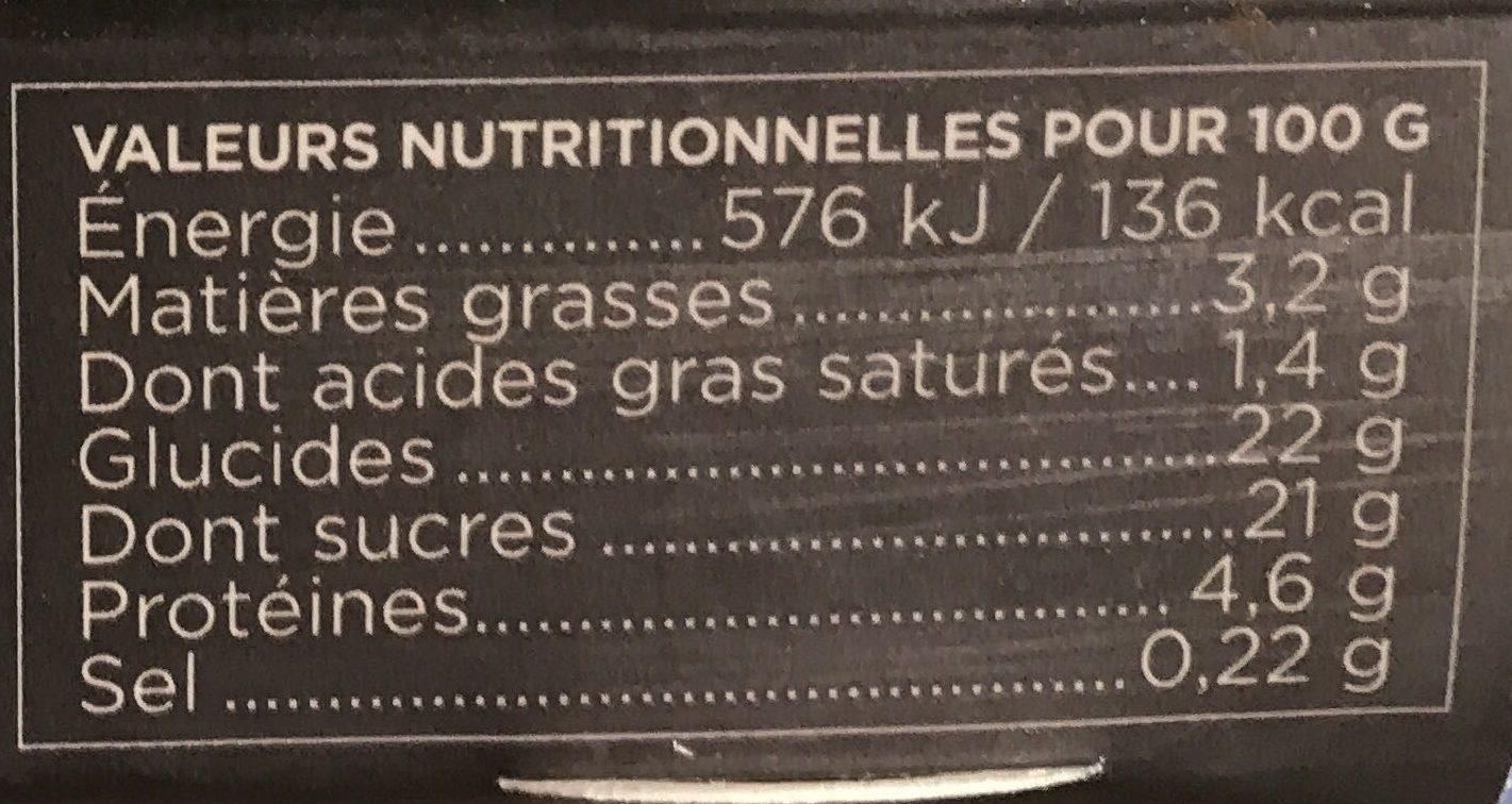 La Crème Caramel - Información nutricional