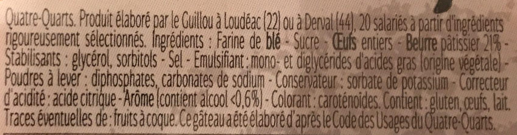 Quatre Quarts Pur Beurre Long - Ingrédients - fr