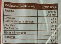 Pain spécial au levain campagne - Nutrition facts