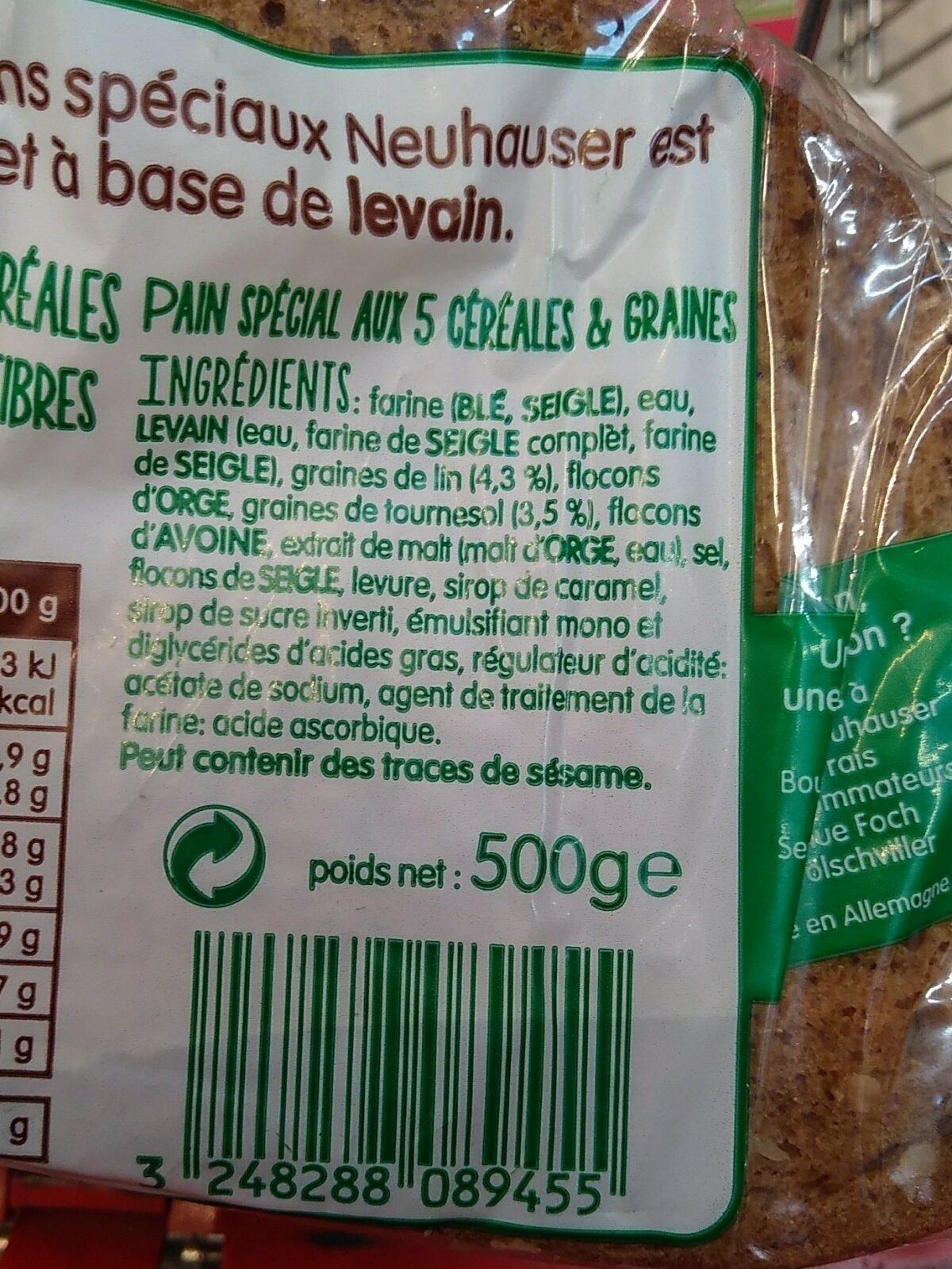 Pain au levain 5 céréales & graines - Ingredients - fr