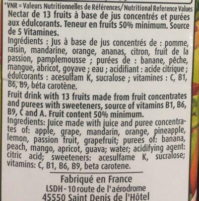 Nectar de 13 fruits - Ingrédients - fr