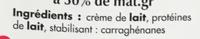 Crème entière liquide (30 % MG) - Ingrédients - fr