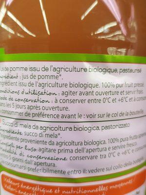 Bio 100% pur jus pomme trouble - Ingrédients - fr