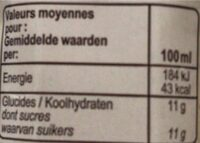 Carrefour BIO 100% pur fruit pressé - Valori nutrizionali - fr