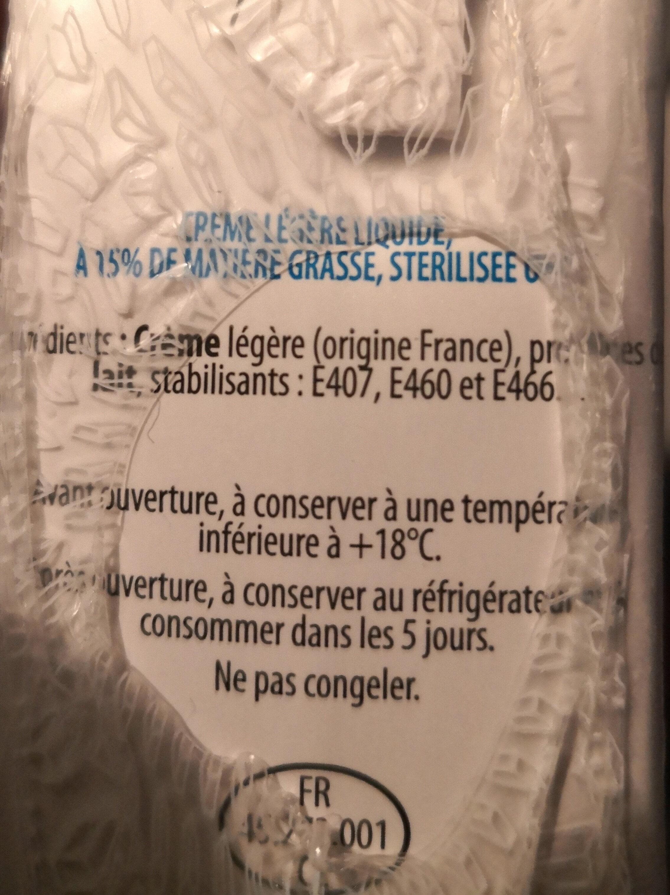 Crème légère liquide (15% MG) - Ingrédients - fr