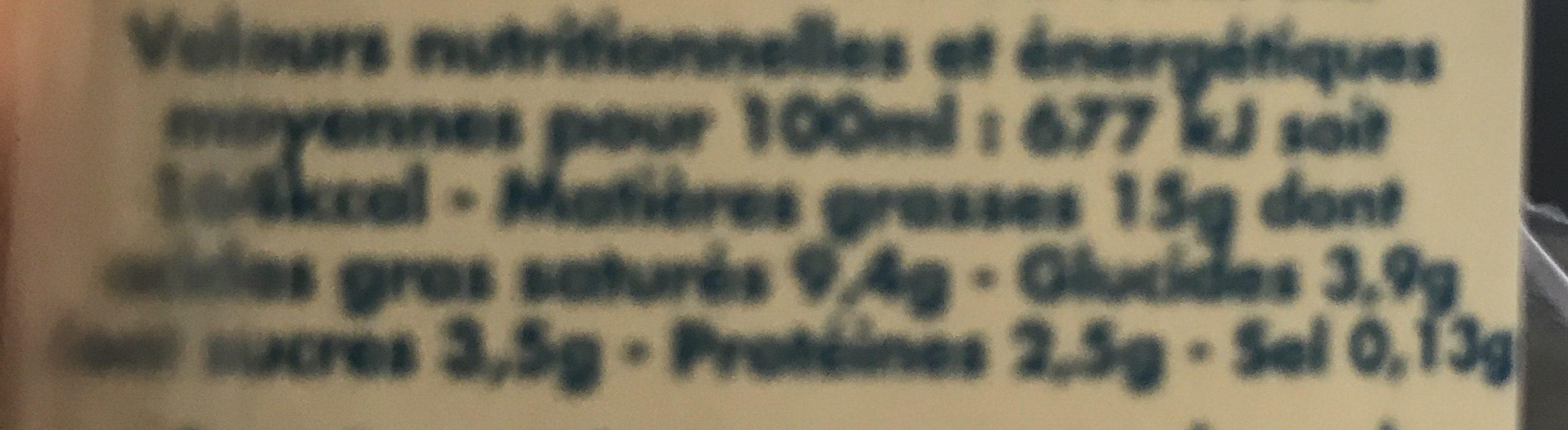 Crème Légère Liquide (15% MG) - Voedigswaarden