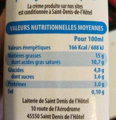 Crème légère liquide (15% MG) - Informations nutritionnelles - fr