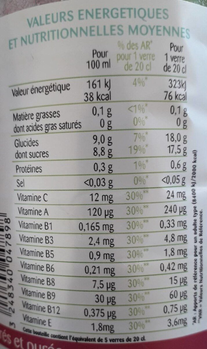 Multifruits - Voedingswaarden - fr