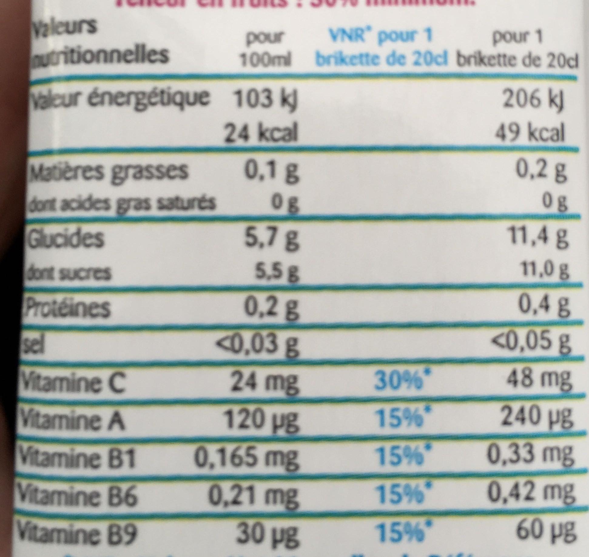 Multi Enrichi en Vitamines B1, B9, B6, C et A - Informations nutritionnelles - fr