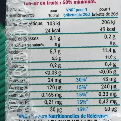 Multi Enrichi en Vitamines B1, B9, B6, C et A - Voedingswaarden