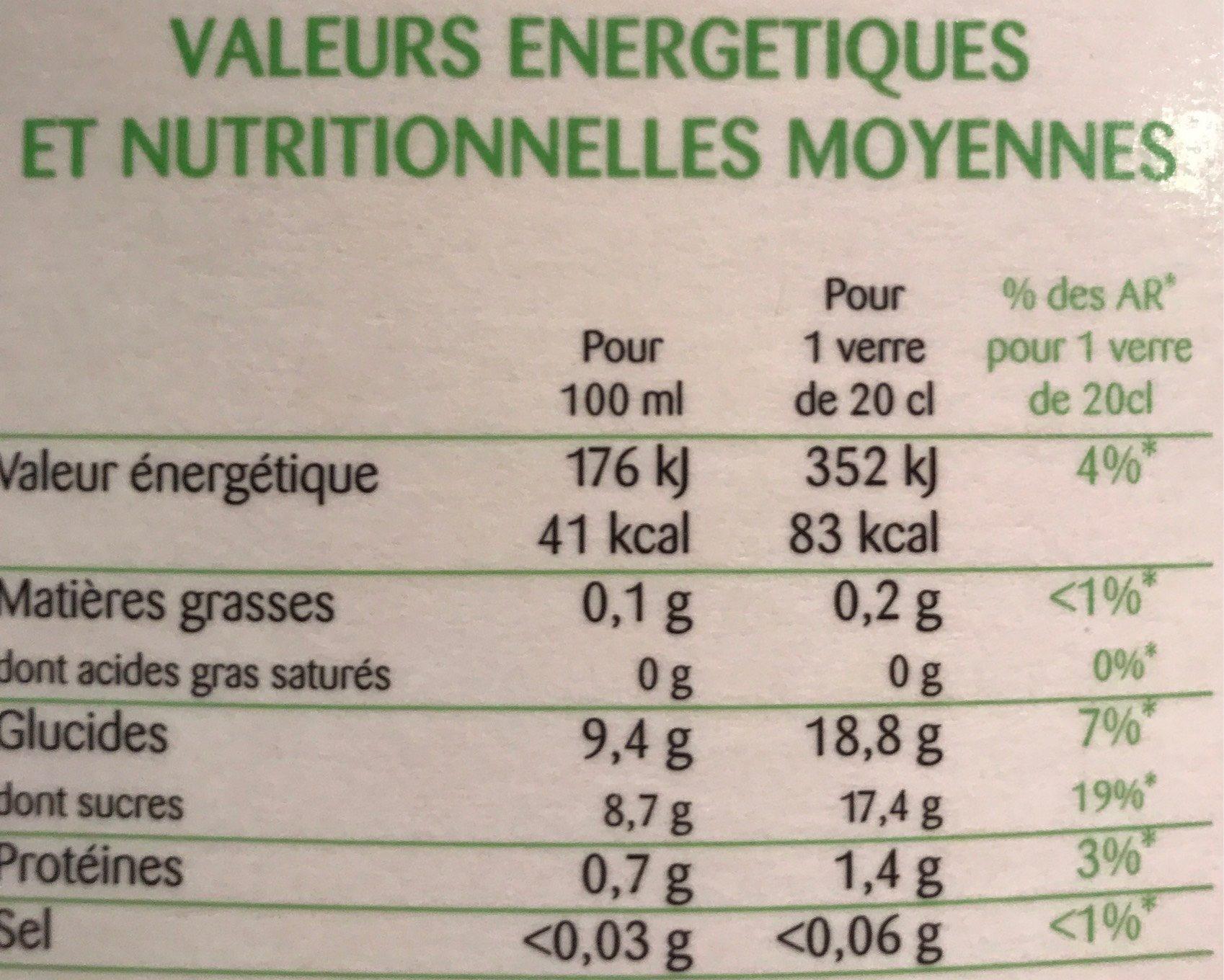 Orange 100% Pur Fruit Pressé - Informations nutritionnelles - fr