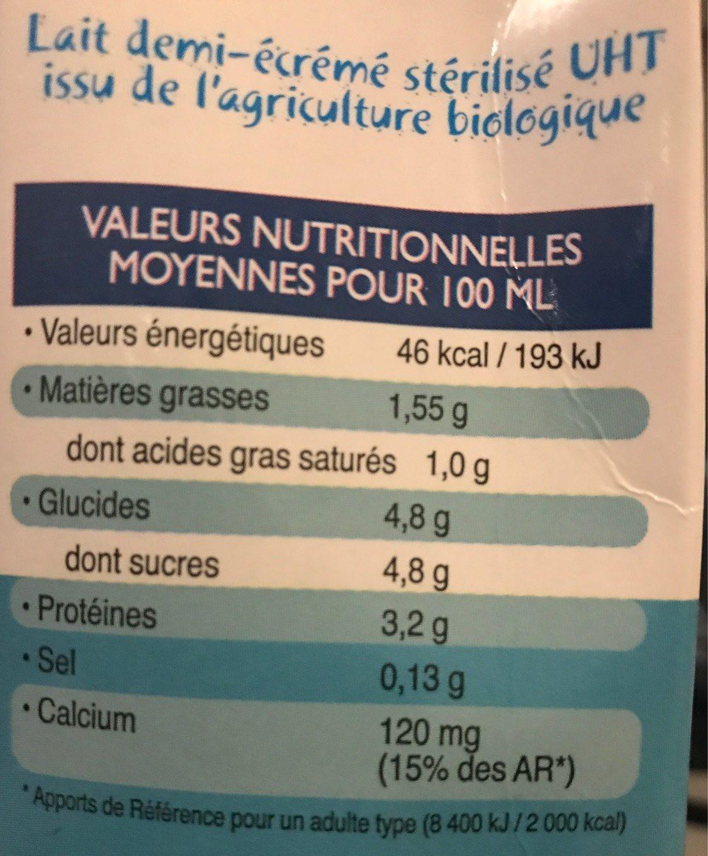 Lait demi-écrémé - Informação nutricional - fr