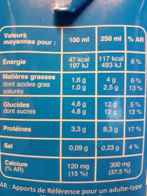 Lait demi-écrémé stérilisé UHT - Nutrition facts - fr