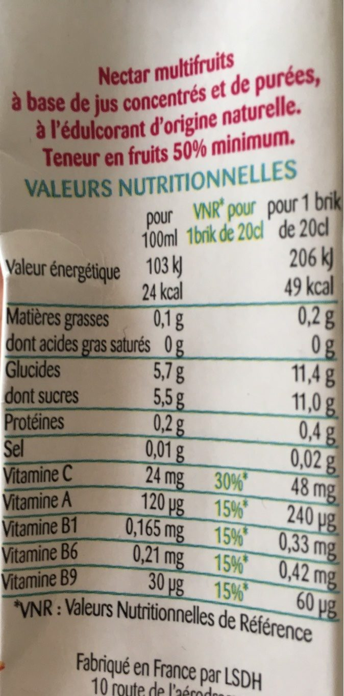 Multifruits - Informations nutritionnelles - fr