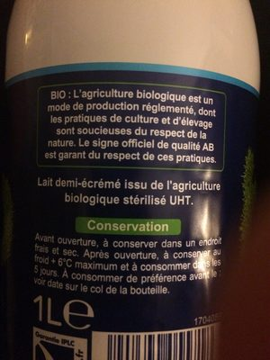 Lait bio - Ingredients