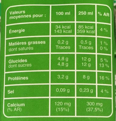 Lait écrémé - Informazioni nutrizionali