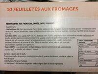 10 Feuilletés Aux Fromages Toupargel 650 G (10 X 65 G) - Ingredients - fr