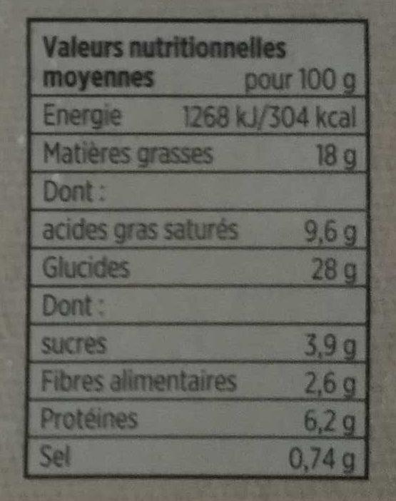 10 Feuilletés Aux Fromages Toupargel 650 G (10 X 65 G) - Nutrition facts - fr
