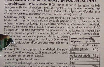 Feuilleté Jambon Emmental - Ingredients