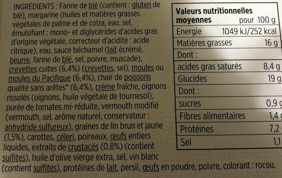 Feuilleté aux Fruits de Mer - Ingrédients - fr