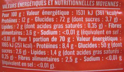 Cheveux d'Ange (Al dente 3 min.) - Nutrition facts - fr