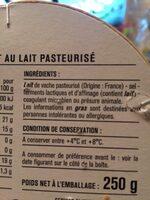 Camembert au lait pasteurisé - 成分 - fr