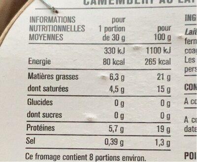 Camembert au lait pasteurisé - 营养成分 - fr