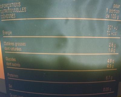 Fromage blanc 2,8% de matière grasse Monoprix - Nutrition facts - fr