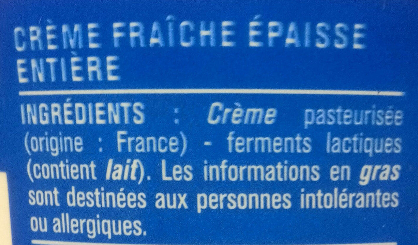 Crème fraîche entière épaisse (30% M.G) - Ingrediënten