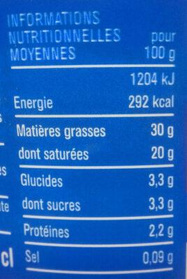 Crème fraîche entière épaisse (30% M.G) - Voedigswaarden