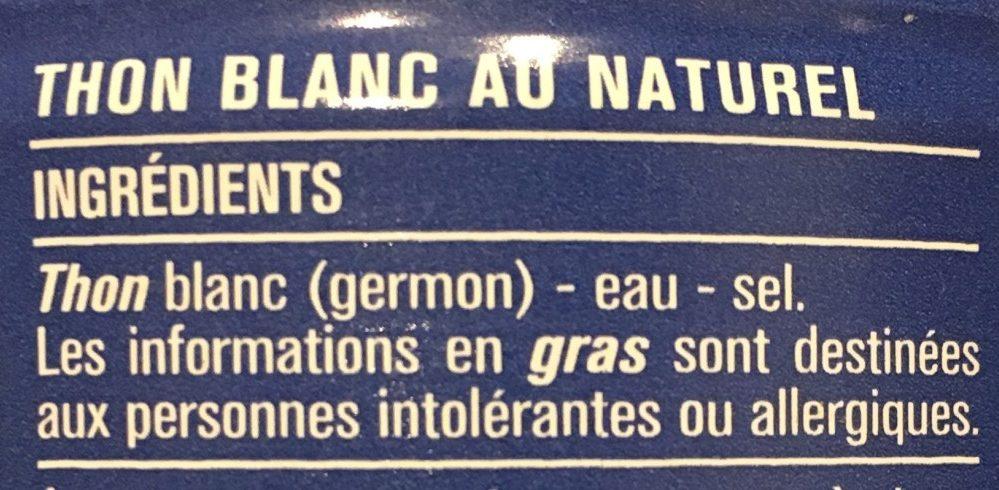 Thon blanc au naturel - Ingredienti - fr