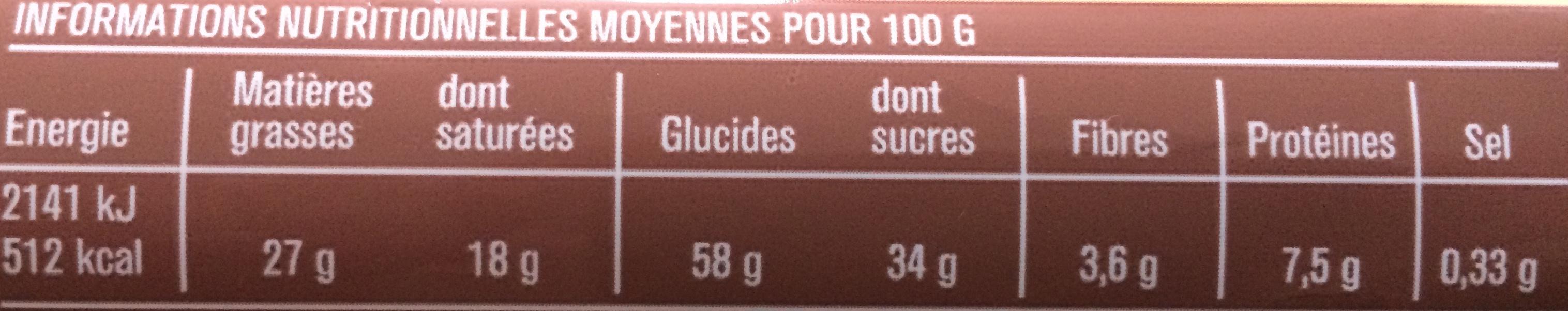 Gaufrettes Fourrées Praliné - Voedingswaarden