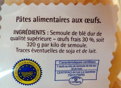 Pâtes d'Alsace (7 œufs frais au kilo), Nids - Ingredients