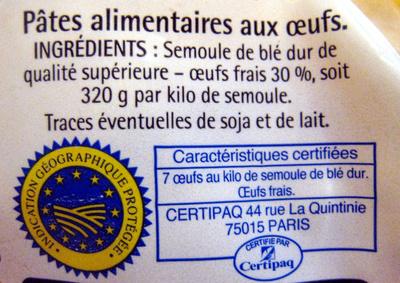 Pâtes d'Alsace (7 œufs frais au kilo), Macaroni - Ingrédients - fr